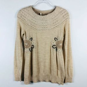 Anthropologie Moth Tan Wool Embroidered Sweater